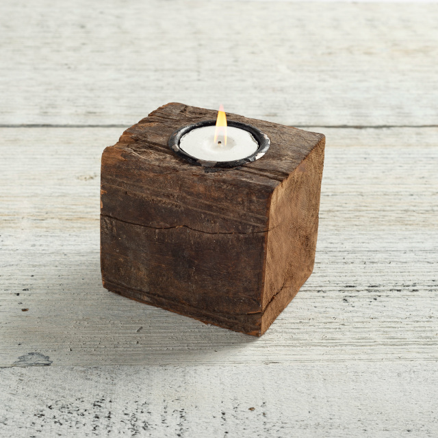 Reclaimed Wood Block Candle Holder